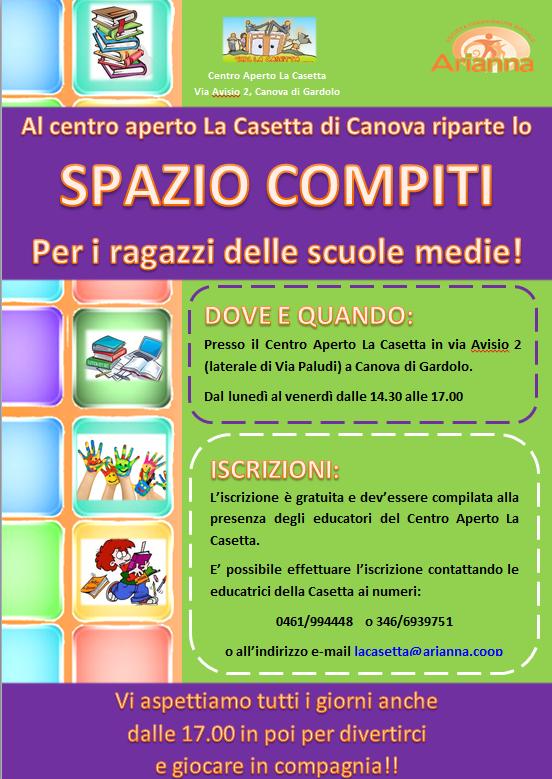 compiti gratuiti alla Casetta di Canova
